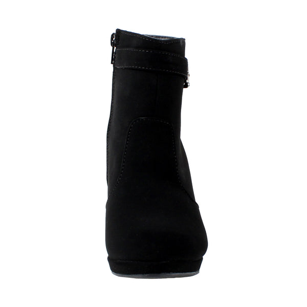 Cotton-15 Buckle Wedge Ankle Boots