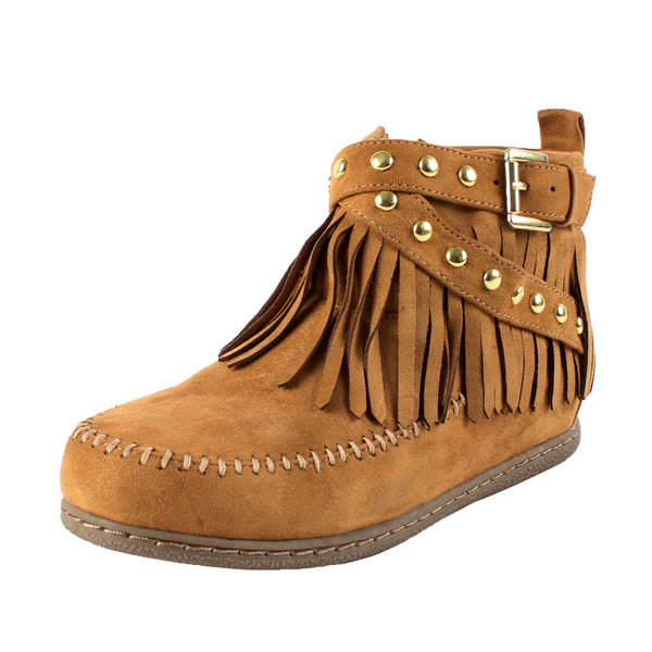 Dahlia Fringe Studded Moccasin Ankle Boots