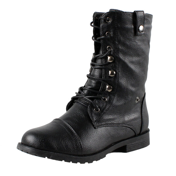 Damara-2 Womans Fold Over Combat Boots