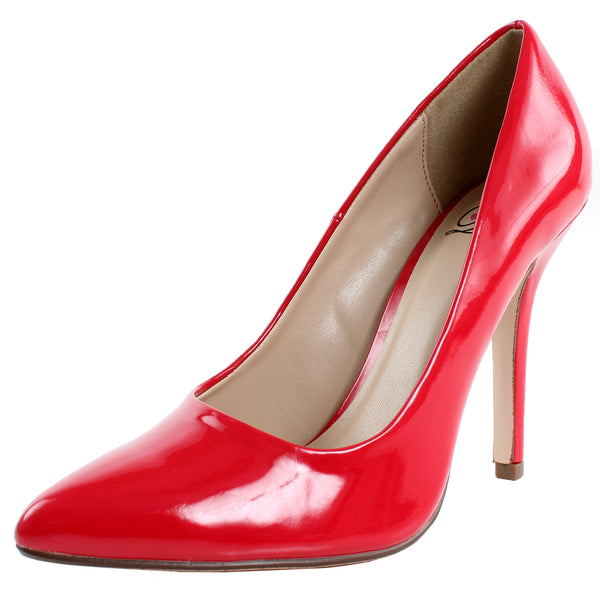 Date-H Faux Patent Pointy Toe Stiletto Pumps