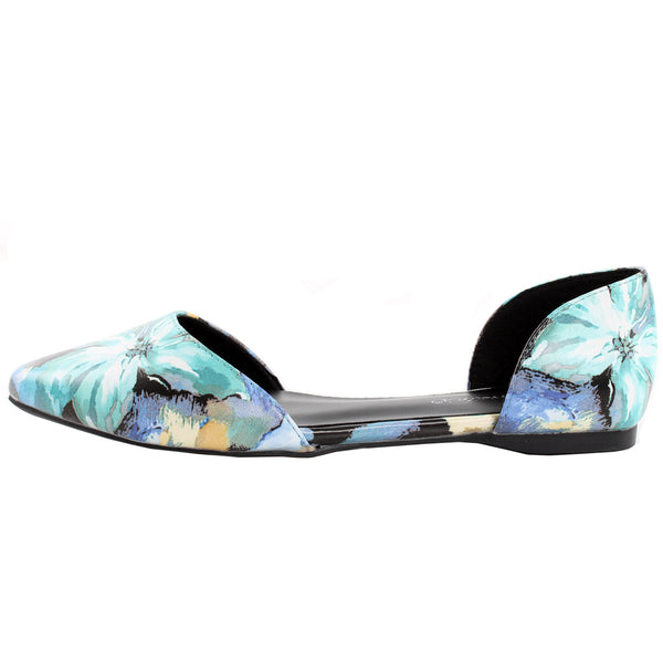Dolley-27 D'Orsay Floral Print Slip On Ballet Flats