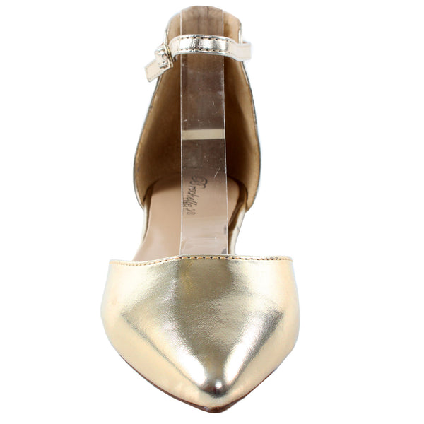 Dolley-41 Metallic D'Orsay Pointy Toe Flats