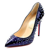 Christian Louboutin Women's Studded Glossy Pointed Toe Heels Violet