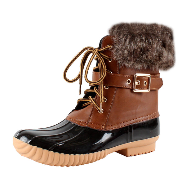 Duck-01 Faux Fur Ankle Rainboots