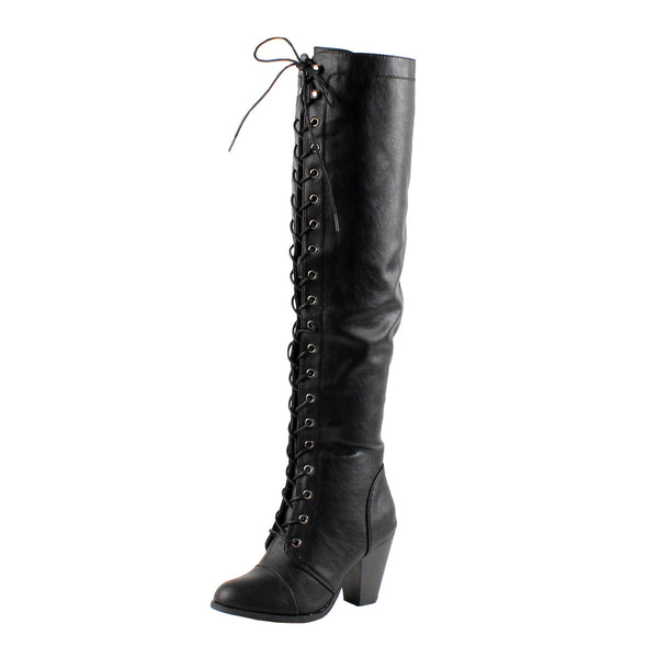Durban Lace Up Thigh High Boots