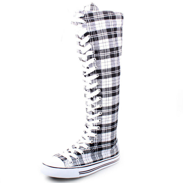 Lace-Up Plaid Knee High Sneaker Boots