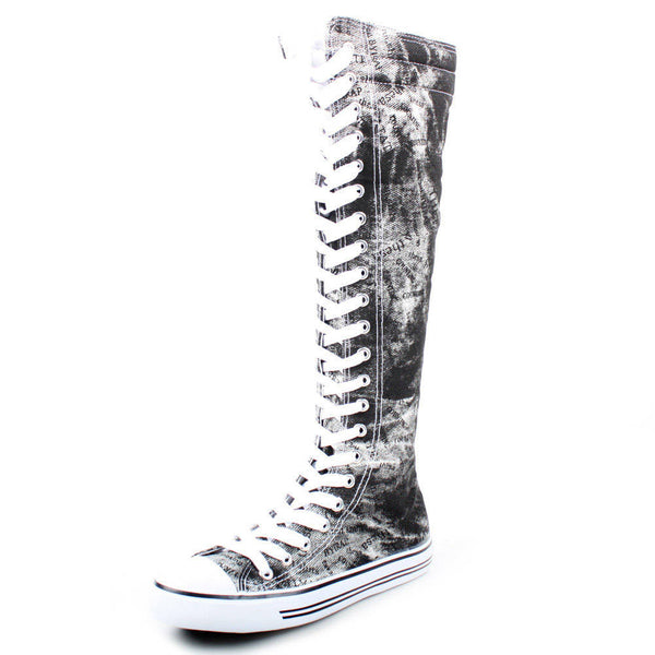 Graphic Print Lace-Up Knee High Sneaker Boots