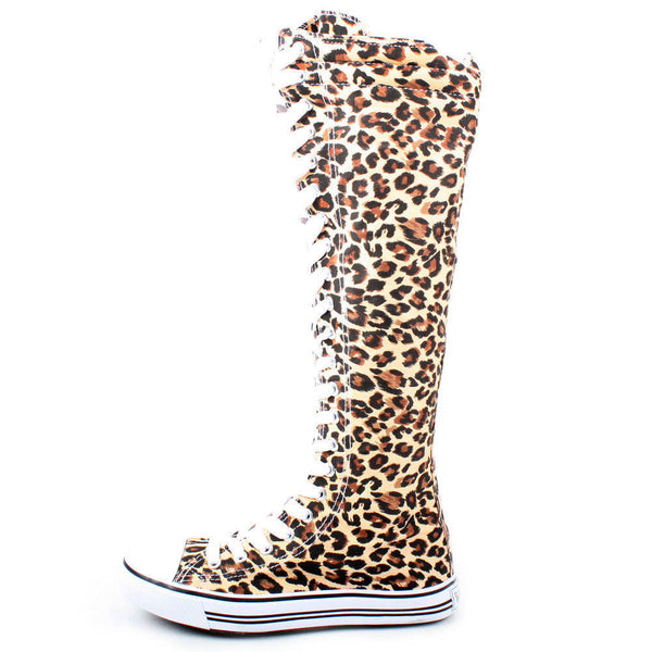 Leopard Zebra Animal Print Lace-Up Knee High Sneaker Boots