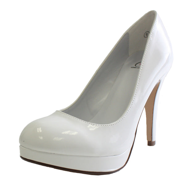 Eiffel-H Faux Patent Stiletto High Heel Pumps