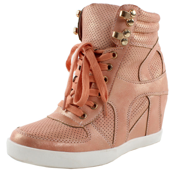 Eric-9 Metallic High Top Wedge Sneakers