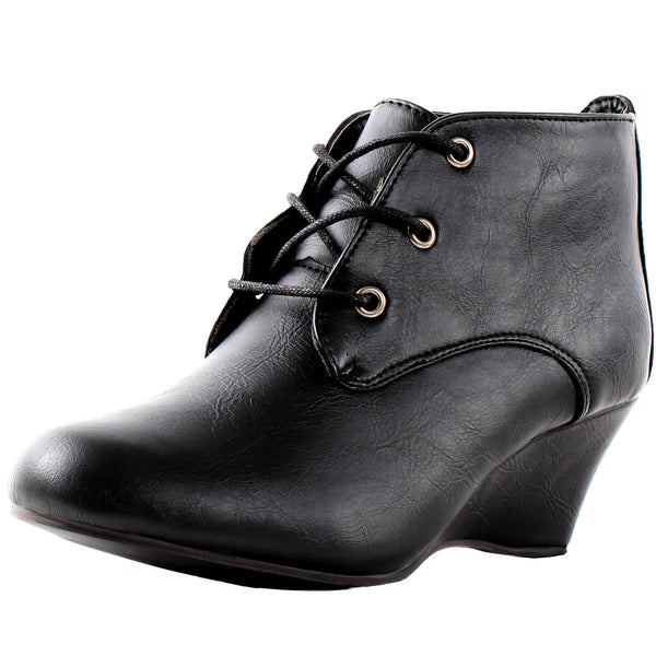 Essen Oxford Ankle Booties Wedge Boots