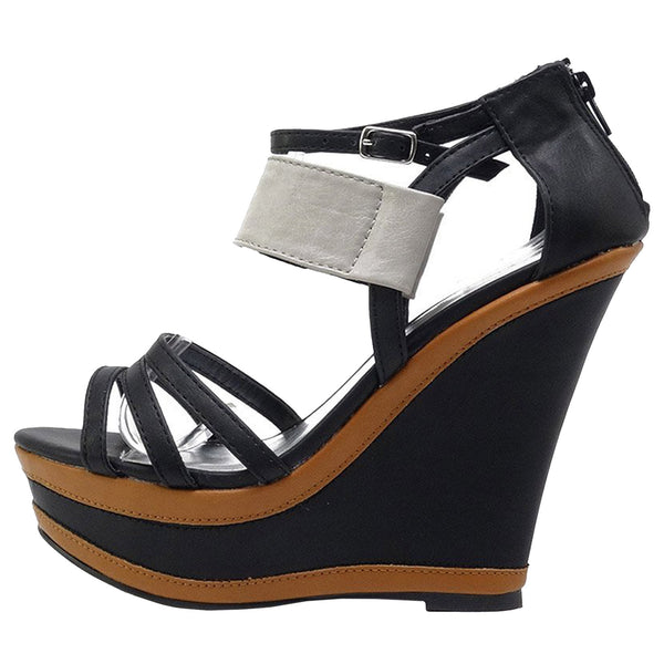 Finder-171 Color Block Strappy Wedge Platform Sandals