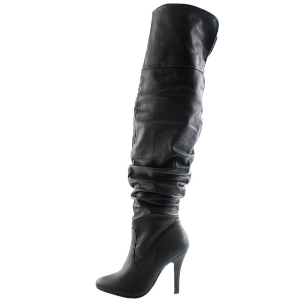 Focus-33 Slouchy Stiletto High Heel Thigh High Boots