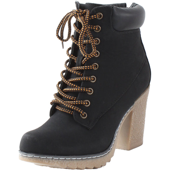 Forest-01 Padded Collar Desert Chunky High Heel Ankle Boots