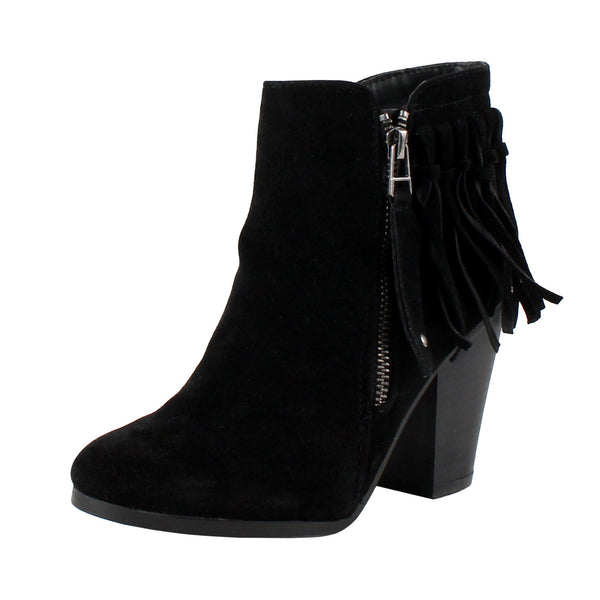 Gail-26 Fringe Chunky Heel Ankle Boots