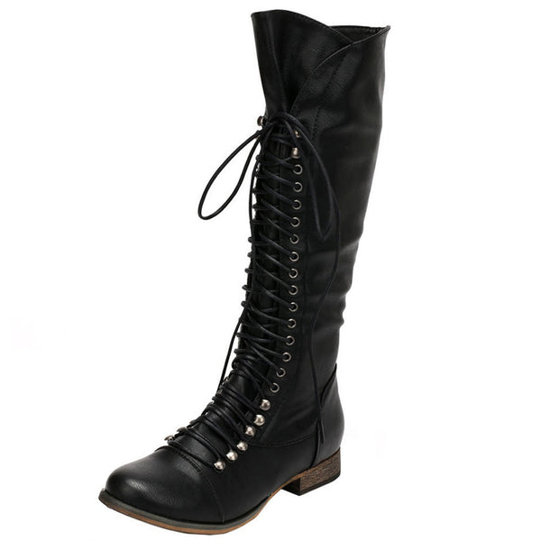 Georgia-35 Lace Up Millitary Knee High Boot