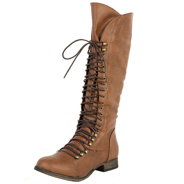 Georgia-35 Knee High Lace-Up Combat Boot
