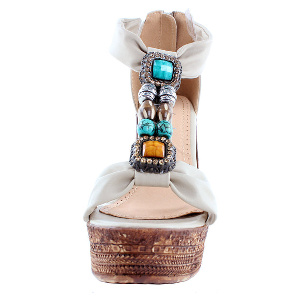 Grita-05 Beaded T-Strap Wedge Sandals