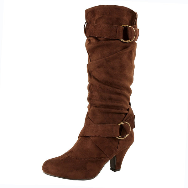 Guilty Heart - Winter Mid Calf Strappy Slouchy Buckle Low Kitten Heel Boots (Previously Guilty Shoes)