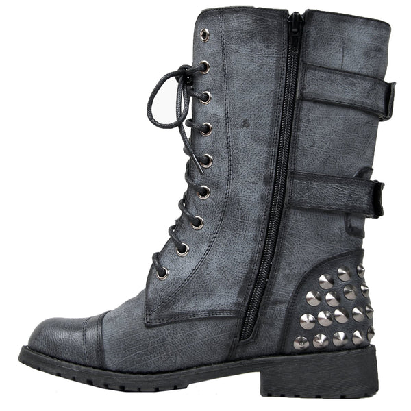 Harley 12 Military Lace up Studded Combat Boots