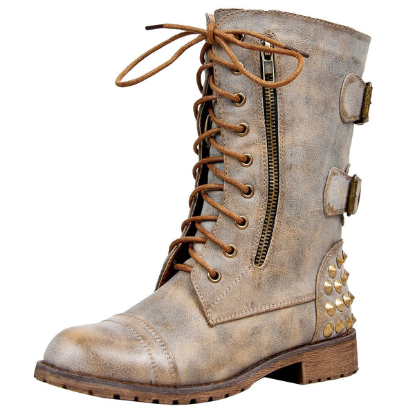 Harley-12 Military Studded Combat Boots