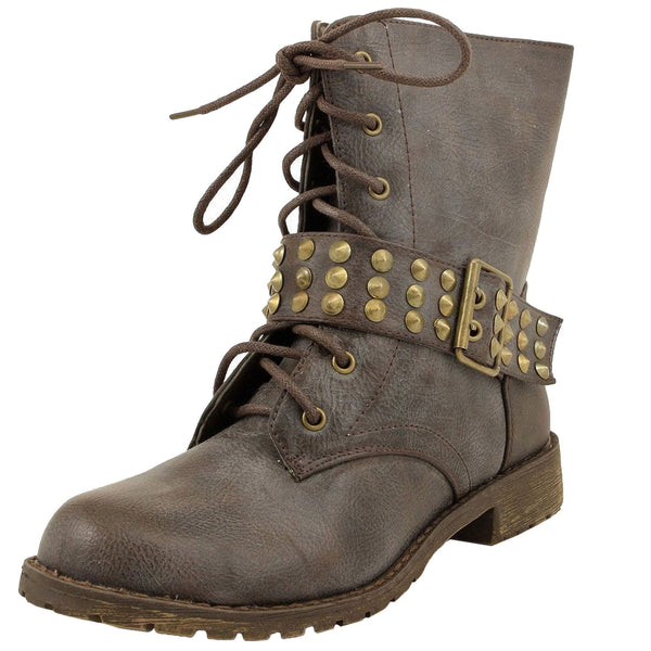 Harley-13 Studded Motorcycle Combat Ankle Boots