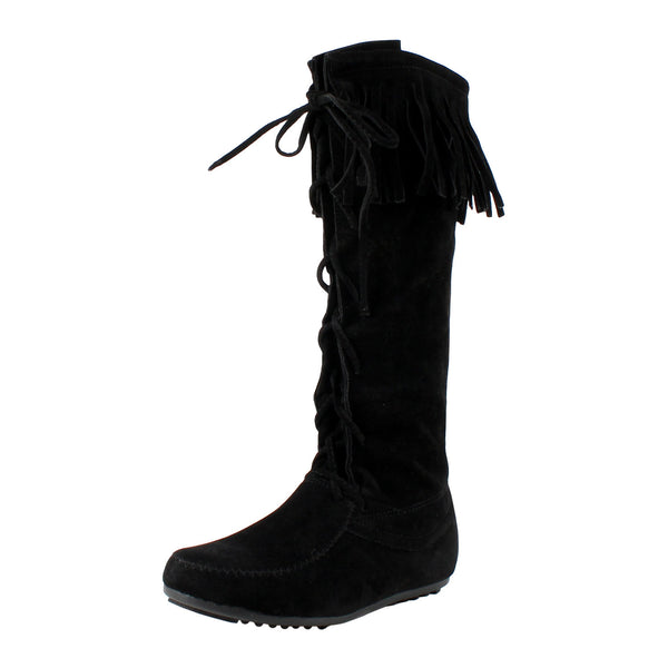 Havana Fringe Moccasin Knee High Boots
