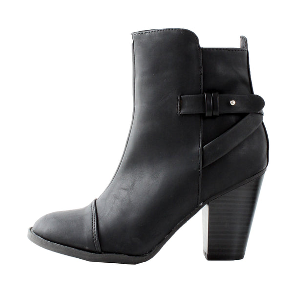 Heather-32 Riding Motorcycle Chunky High Heel Ankle Boots