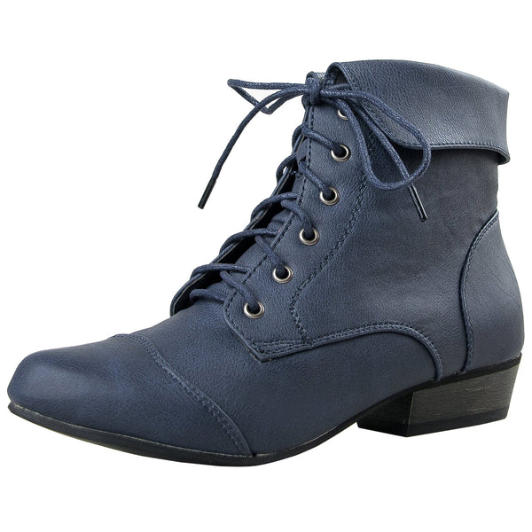 Indy-11 Fold Over Lace Up Ankle Boots