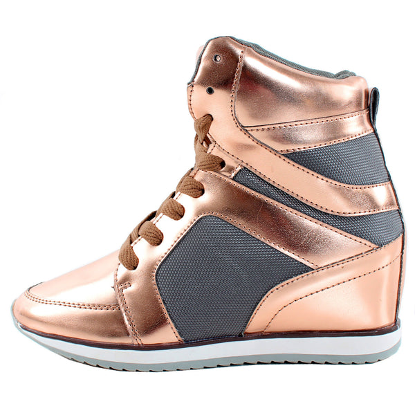 Kelly-02 Metallic High Top Wedge Sneakers
