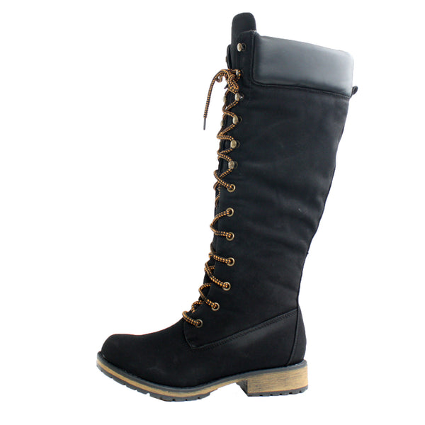 Lauren-02H Knee High Padded Collar Combat Boots
