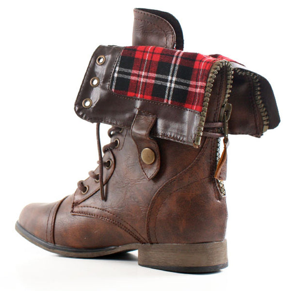 Legend-8S Plaid Cuff Lace Up Combat Military Boots