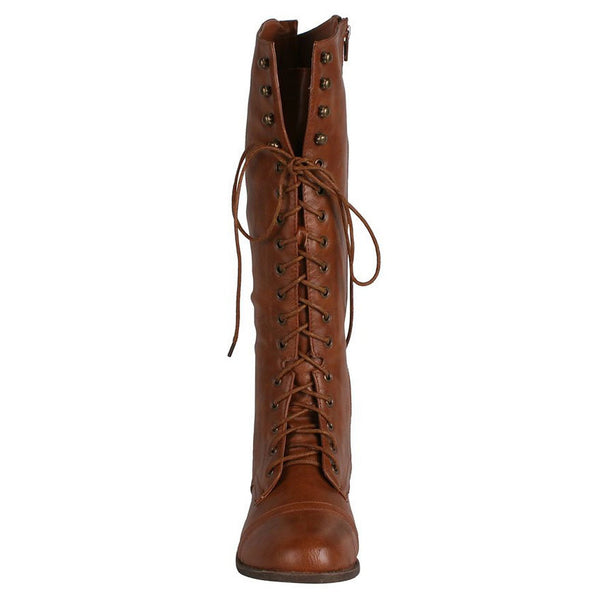 Libby-05 Lace-Up Knee High Combat Riding Boots