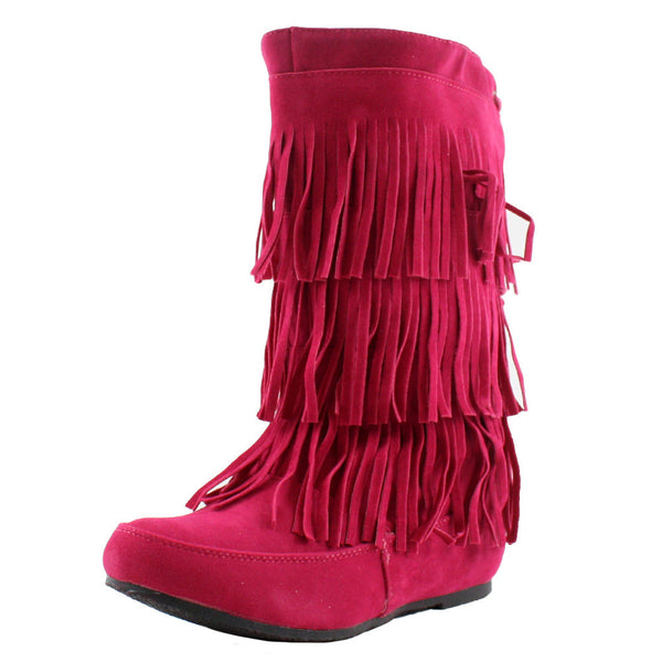 Lima-Moccasin Fringe Layer Moccasin Boots