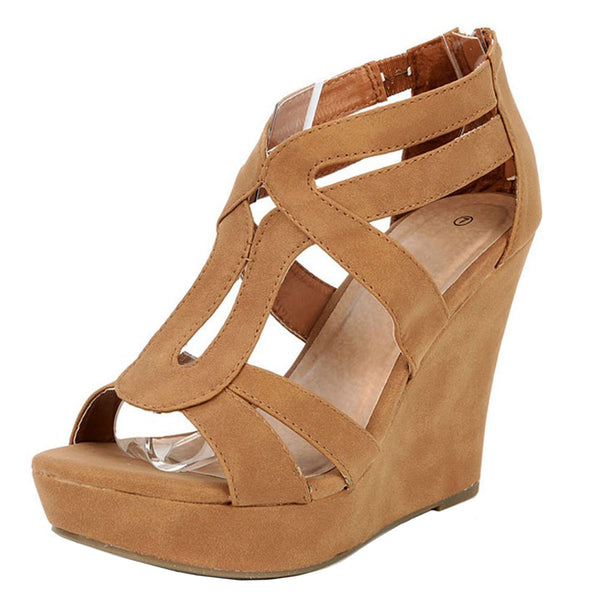 Lindy-03 Open Toe Platform Summer Wedges
