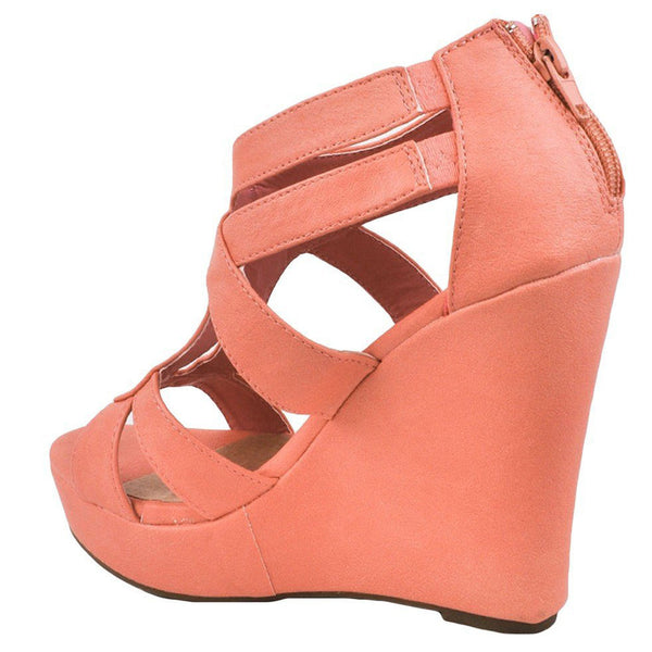 Lindy-03 Strappy Open Toe Platform Wedges