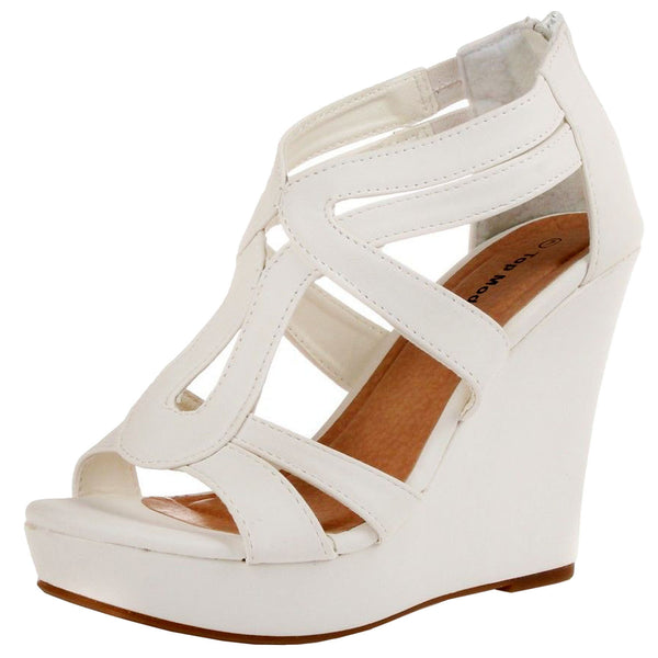 Lindy-03 Open Toe Platform Zipper Wedge