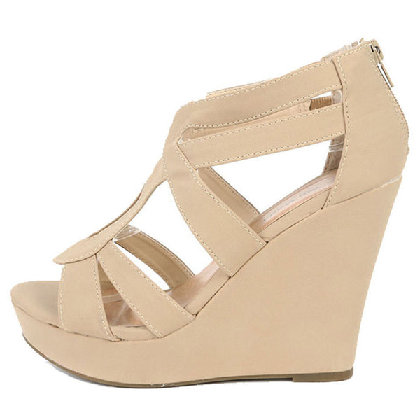 Lindy-66 Strappy Open Toe Platform Wedges
