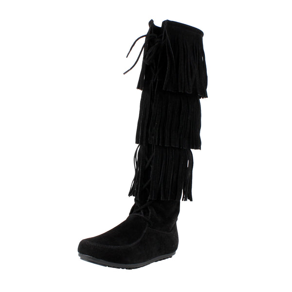 Lisbon Fringe Layer Moccasin Knee High Boots