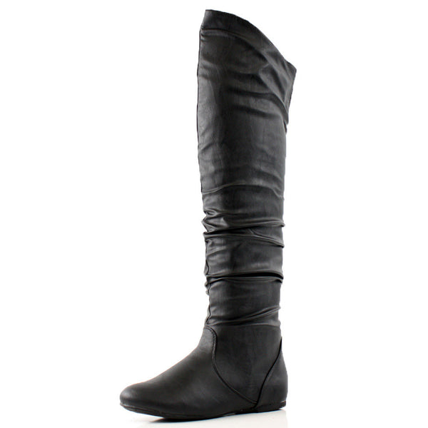 London Thigh High Faux Leather Over The Knee Boots