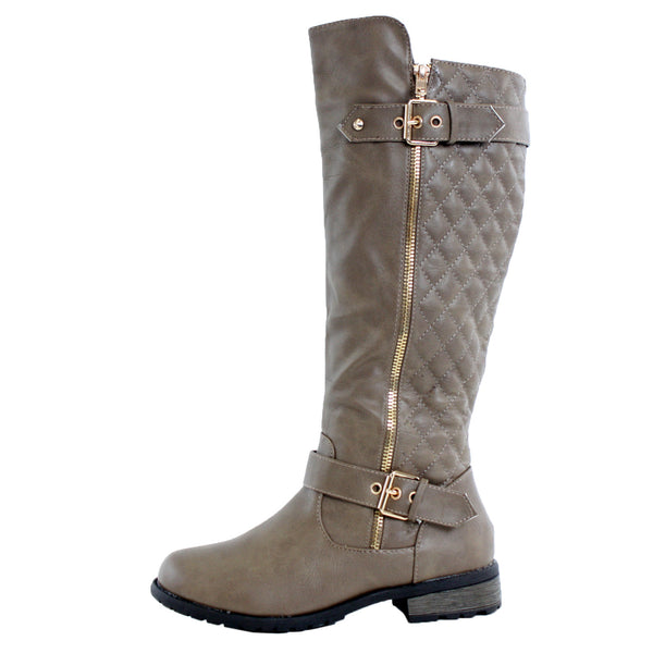 Mango-21 Knee High Quilted Riding Boots