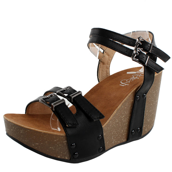Mara-02 Open Toe Wedge Platform Sandals