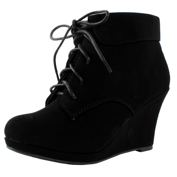Max-35 Round Toe Lace Up Collar Ankle Boots