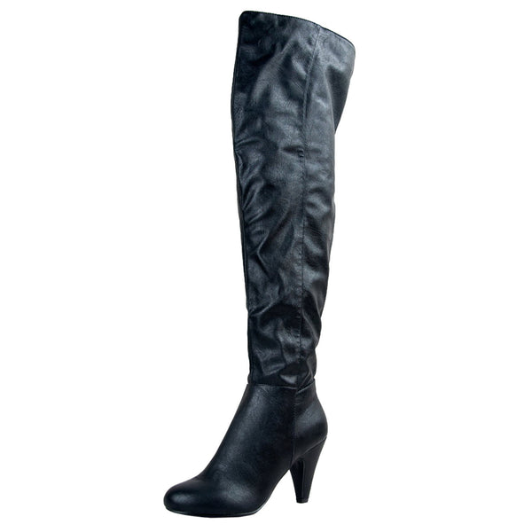 Method-01 Faux Leather Thigh High Boots