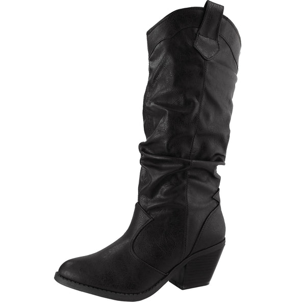Muse-01 Leatherette Western Cowboy Slouchy Boots