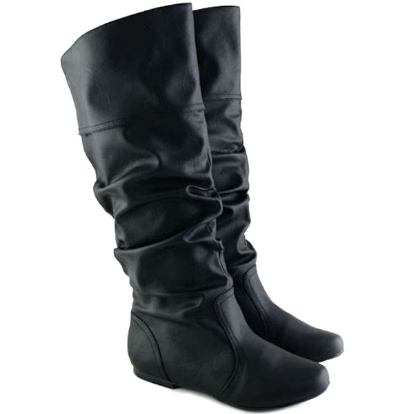 Neo-144 Casual Flat Slouchy Knee High Boots