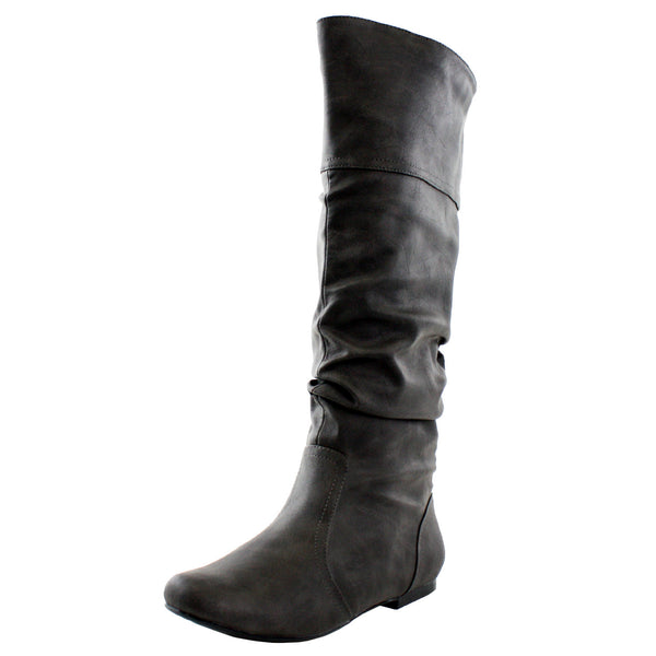 Neo-144 Faux Leather Slouchy Knee High Boots