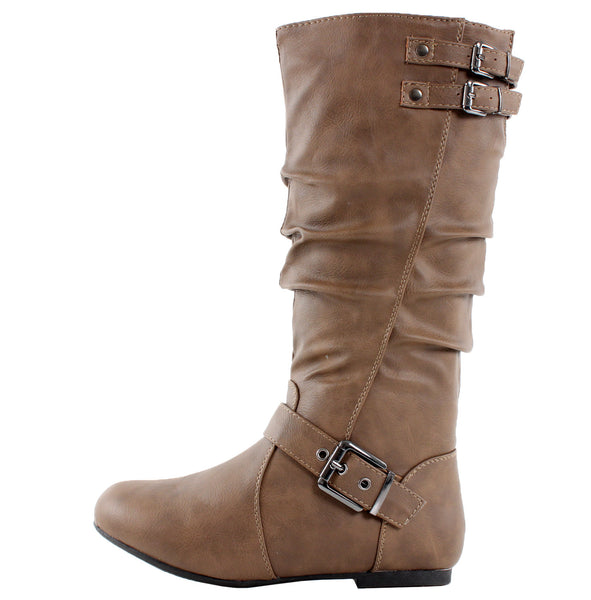 Night-76 Slouchy Buckle Mid-Calf Boots