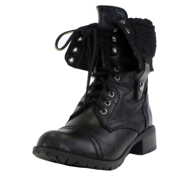 Oral-S Faux Shearling Fur Fold Over Combat Boots
