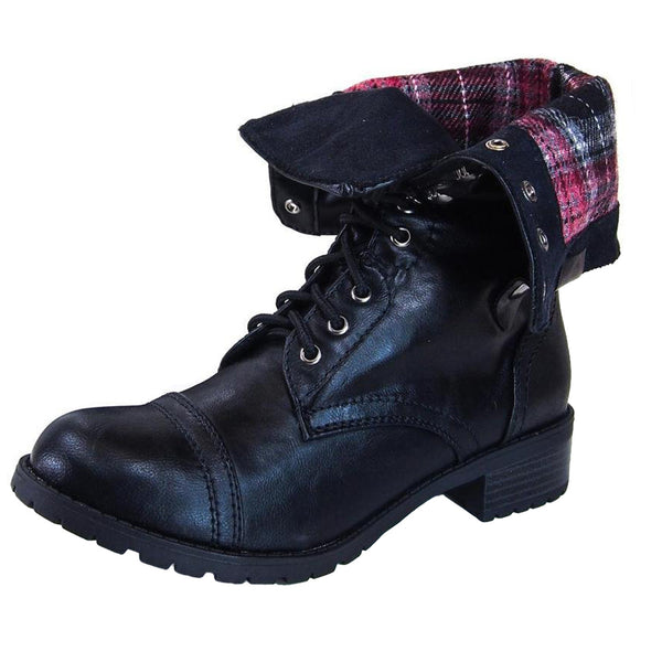 Oralee-S Fold Over Combat Ankle Boots